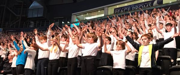 The Home Ed Choir performing at The Peace Proms in Belfast