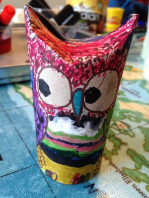 Brightly coloured craft owl made